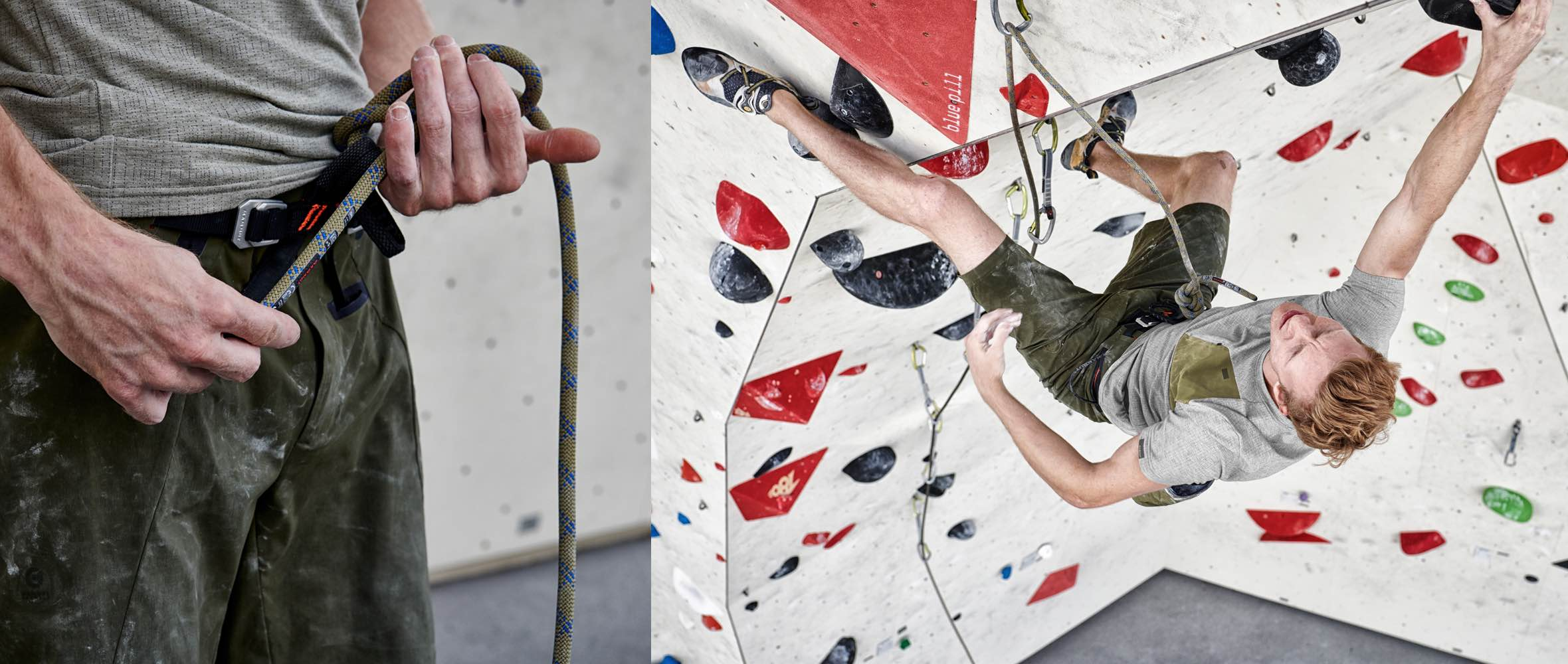 Mammut Pro Team Athlete Jakob Schubert trains in a climbing hall.