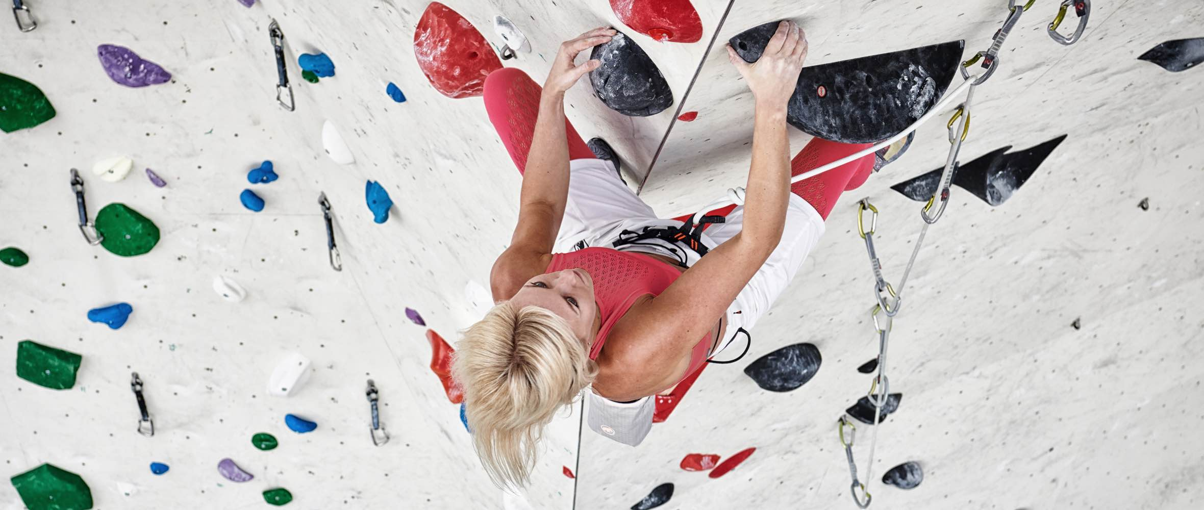 Mammut Pro Team athlete Sierra Blair-Coyle during climbing training in a climbing hall.
