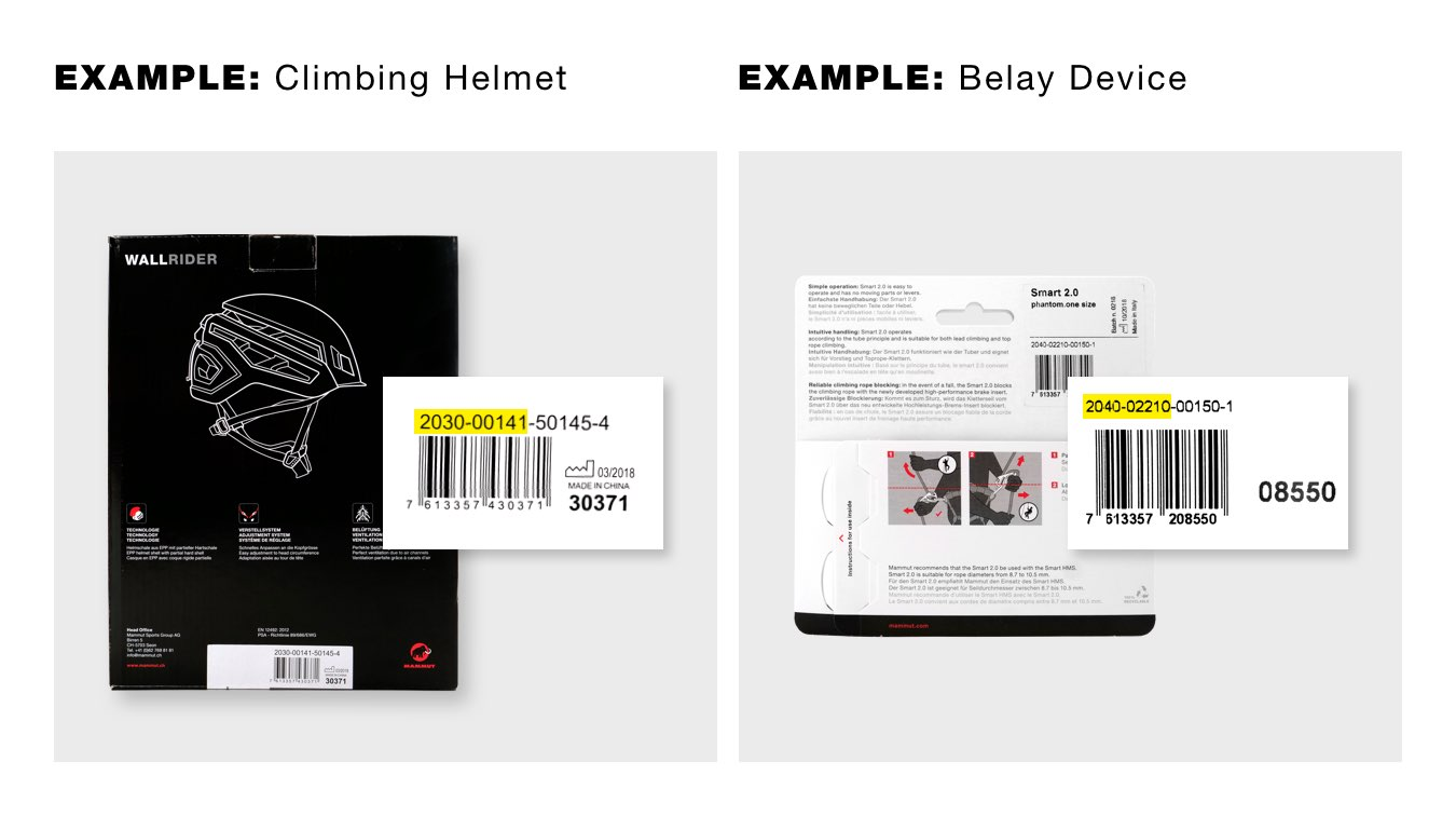 Search example for item number climbing helmet and safety device