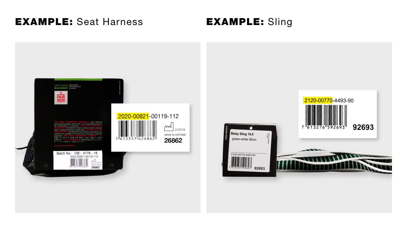 Search example for item number seat harness and sling