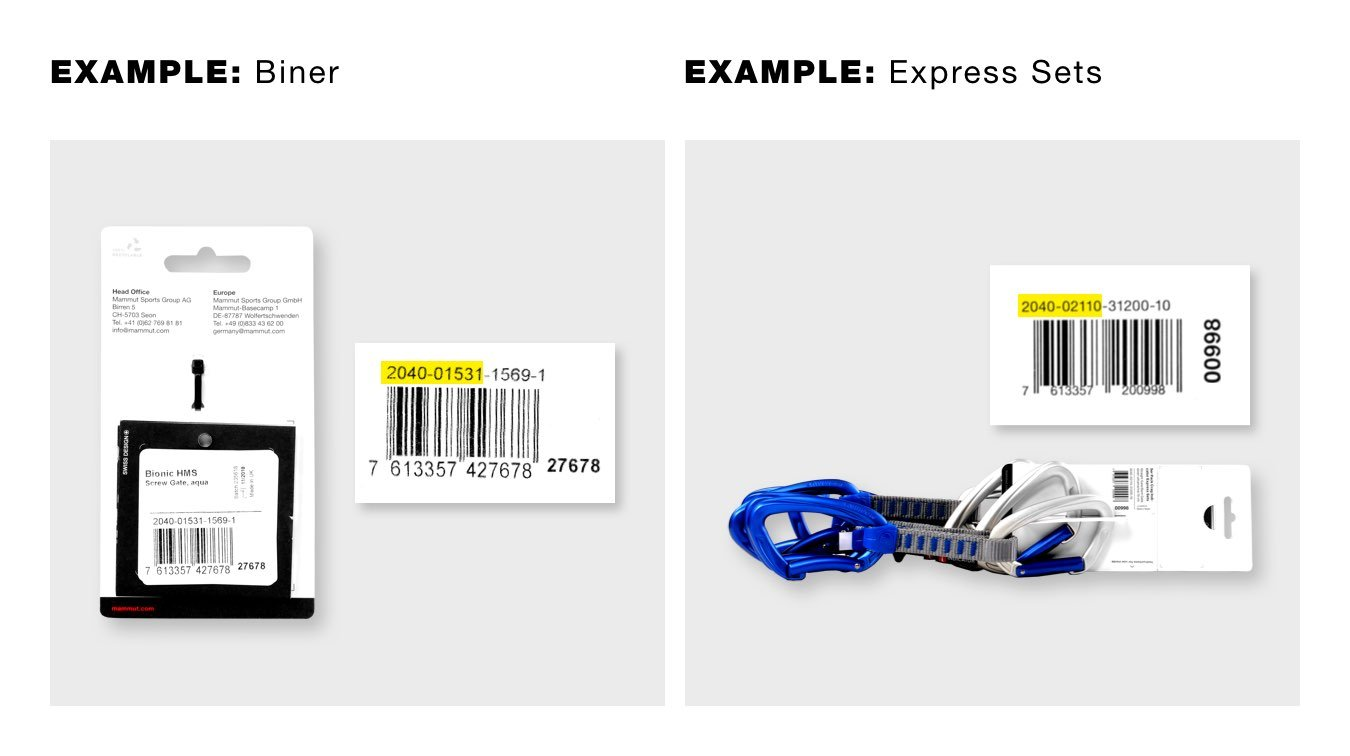Search example for item number biner and express sets